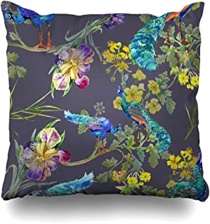 Ahawoso Decorative Throw Pillow Cover Spring Blue Pattern Watercolor On Purple Peacock White Feather Abstract Design Zippered Design 18