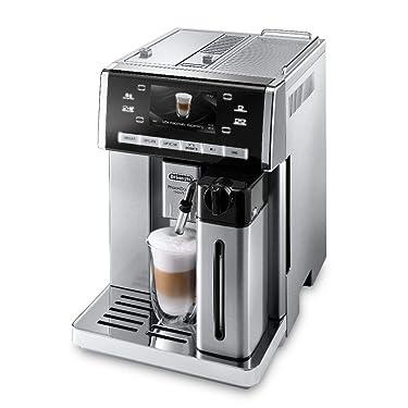 De'Longhi PrimaDonna ESAM 6900.M Kaffeevollautomat mit Milchsystem, Cappuccino und Espresso auf Knopfdruck, 4,6 Zoll TFT Farbdisplay, Trinkschokoladenfunktion, Edelstahlgehäuse, silber