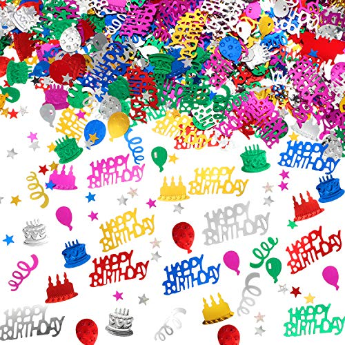 3000 Pieces Happy Birthday Confetti Birthday Cake Confetti Metallic Foil Balloon Confetti Table Scatter Confetti Decorations for Birthday Party, Baby Shower, DIY Arts and Crafting (Multi-Color)