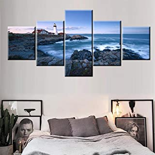 Wall Pictures for Living Room Lighthouse in Portland Maine Paintings Head Lights Artwork 5 Panel Prints Wall Art on Canvas Giclee Modern House Decor Framed and Stretched Ready to Hang(50''Wx24''H)