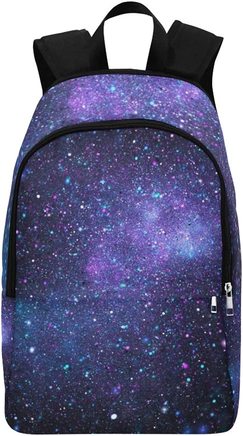 Bright Galaxy Abstract Stars On Black Casual Daypack Travel Bag College School Backpack for Mens and Women