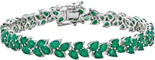 Color International Women's Rhodium Plated Sterling Silver Bracelet with Genuine Emerald | Fashionable Jewelry Accessories...