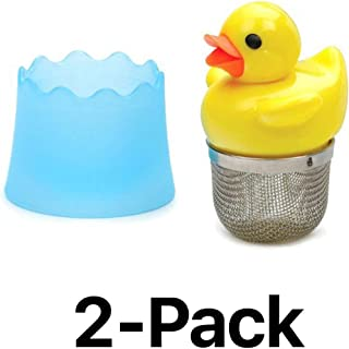 RSVP Tea Infuser Tea Ducky Mesh Stainless Steel With Base Yellow & Orange 2-Pack