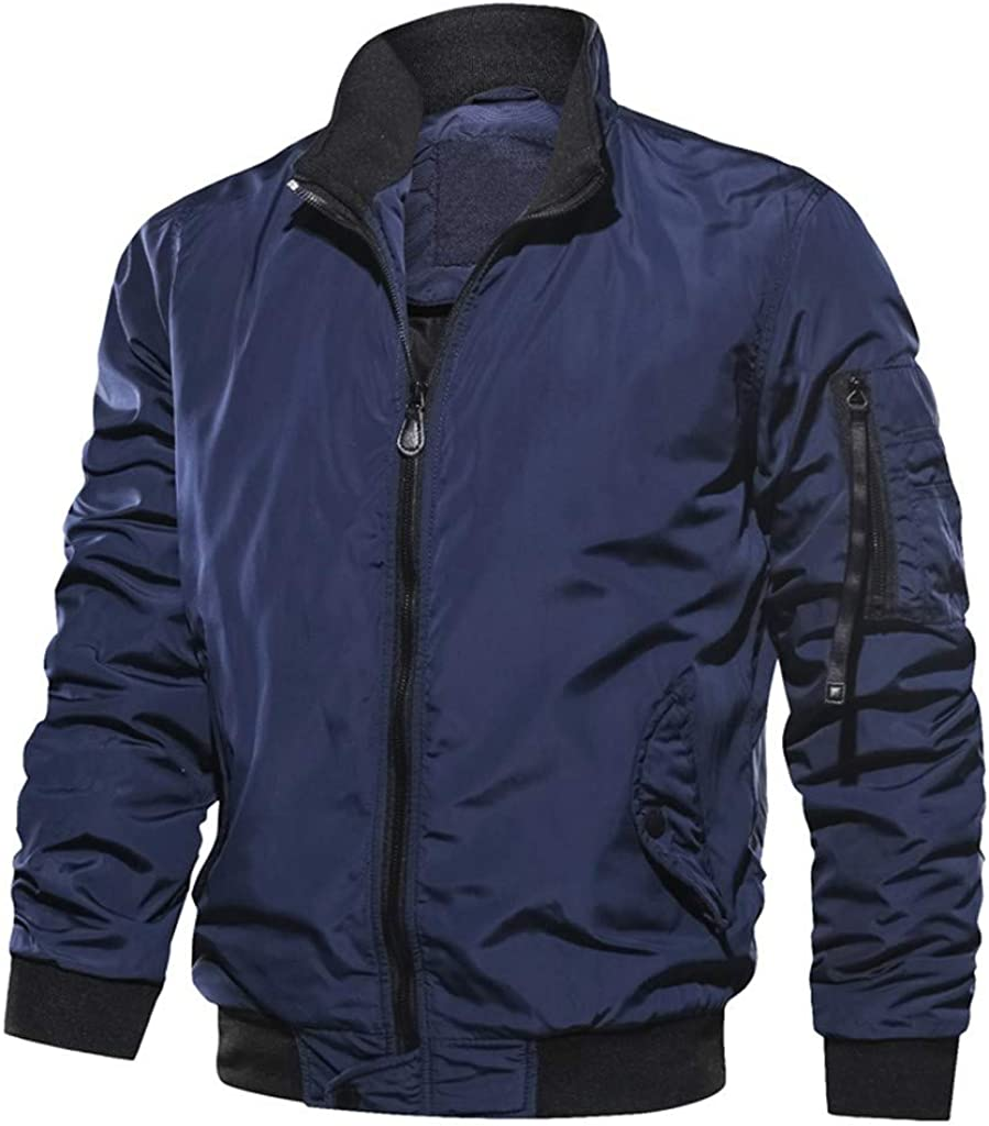 Stoota Men's Packable Down Jacket, Winter Stand Collar Regular Fit Lightweight Winter Puffer Coat Outerwear Blue