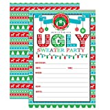 Ugly Sweater Christmas Party Invitations, Christmas Party Invitation,Tacky Sweater Party Invite, Festive Holiday Party, 20 Fill in Invitations and Envelopes