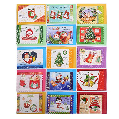 Christmas Cards- Merry Xmas Holiday Elegant Santa Reindeer Snowman Tree Greeting Gift Card Envelopes- 120 Piece Set - 3.5L x .10H x 2.5W Inches
