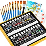 Set di Colori Acrilici 37 Pezzi, 24 Tubetti da 12 ml+10 Spazzola Set+1 Tavolozza+1 Canvas, Pittura...