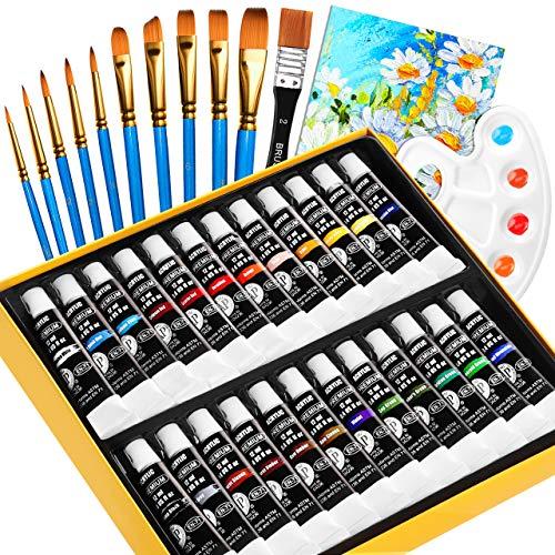 Pintura Acrílica, Gifort 24x12 ml Kit de Pintura Acrílica con 10 Pinceles, 1 Paleta, 1 Lienzo, para Papel, Madera y Tela, Colores Alta Cobertura y de Secado Rápido, para Principiantes y Profesionales