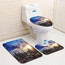 MTSJTliangwan Home Bathroom 3 Piece Sets, Included Bath Area Rug+Contour Mat+Lid Toilet Seat Cover Sunrise Over Downtown Dubai Flannel Carpet