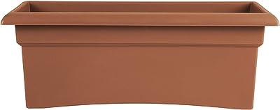 "Bloem 57026C Fiskars Veranda Deck Box Planter, Clay, 26"", 26"" x 11"", Terra Cotta"