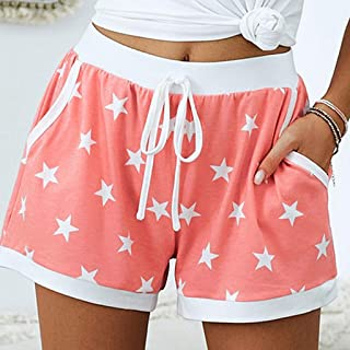 Summer Ladies Shorts Loose Casual Woman Print Middle-Waisted Pentagram Print