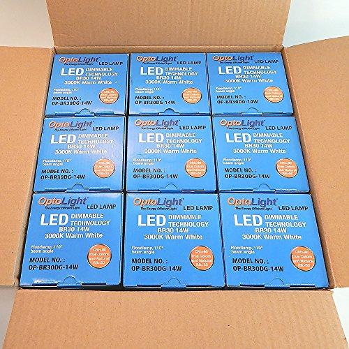 OptoLight Box Of 9 LED Light Bulbs 14W=60W BR30 Dimmable OP-BR30DG-14W (9)