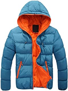 Mens Winter Warm Solid Color Zipper Hooded Cotton Quilted Jacket Coat 1 Large