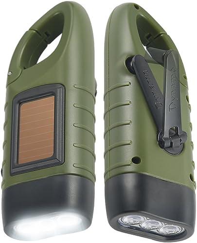 Simpeak [2-Pack] Hand Cranking Solar Powered Flashlight Green, Rechargeable Emergency LED Flashlight Carabiner Dynamo...