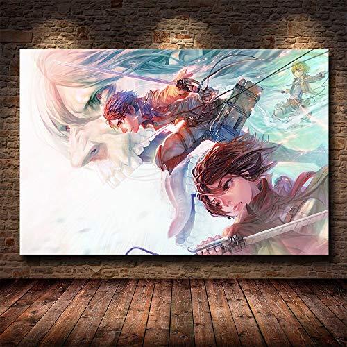 yaoxingfu Puzzle 1000 Piezas Estilo nórdico Ataque Anime Arte Pintura Cuadro Acuarela en Juguetes y Juegos Gran Ocio vacacional, Juegos interactivos familiares50x75cm(20x30inch)