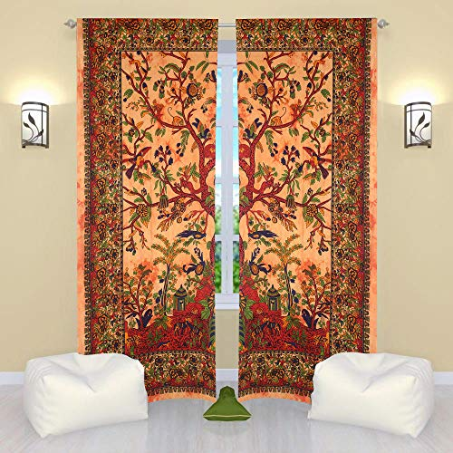 THE ART BOX Window Curtains Indian Window Drapes Set of 2 Tapestry Window Curtains Hanging Valances for Window Room Divider (Yellow Tree, 80x82 Inches or 203x210CM)