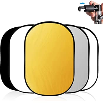 "Selens 40""x 60""/100 x 150CM Photo Light Reflector Photography Kit 5-in-1 Gold/Silver/White/Black/Diffuser with Holder Clip & Collapsible Multi-Disc Carrying Case for Studio Outdoor Lighting"