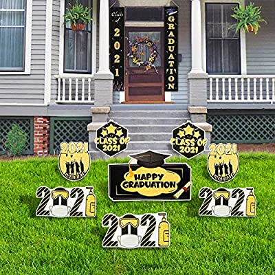 GaraTia Graduation Yard Signs with Stakes Inclued Hanging Banners- Class of 2021 High School College Graduation Party - Outdoor Lawn Decorations- Set of 8