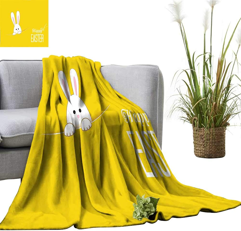Digital Printing Blanket Easter Bunny Rabbit Animal Cartoon Springtime Cheerful Fun Celebration Artwork Print Yello Better Deeper Sleep 50 x70