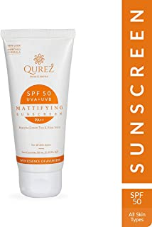 Qurez Mattifying SPF 50 Sunscreen, Green Tea Aloe Vera Vitamin E, 1.69 oz