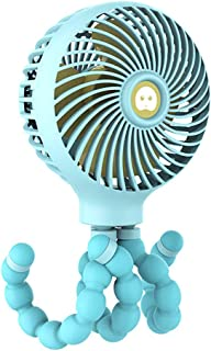 Zhyaj Ventilador De Cama Clip on Fan/Portable 3 Speed Desk Fan/Low Noise USB Stroller Fan for Baby Pram, Bedside Crib, Bike, Home Office,Azul
