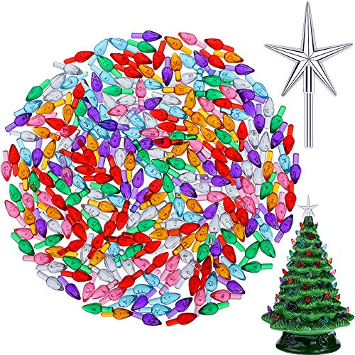 261 Pieces Plastic Ceramic Christmas Tree Bulbs Multi Color Plastic Light Decorations with Plastic Box for Christmas Tree Ornaments, Light and Star Shape