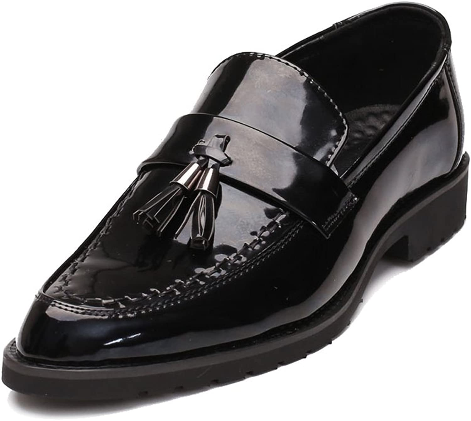ZLQ Men's Business Smooth PU Leather shoes Classic Slip-on Loafers Tassel Pendant Decoration Outsole Oxfords Formal shoes