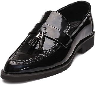 HCP-MX Zapatos de Cuero Liso de la PU para Hombre Zapatos Mocasines Antideslizantes clásicos Borla Colgante Decoración Suela Oxfords.