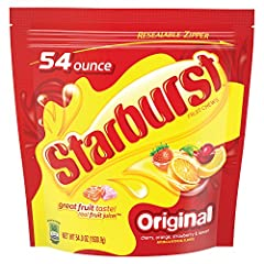 Contains (1) 54-ounce party size bag of Starburst original Fruit Chews featuring Strawberry, Cherry, Lemon and Orange flavor candies Fruity burst of flavor: Starburst Unexplainably Juicy Fruit Chews deliver a chewy burst of fruit flavor in every frui...