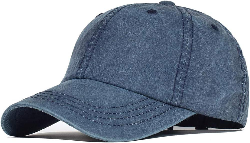 Vintage Washed Cotton Baseball Cap Distressed Plain Adjustable Dad Hat Low Profile Trucker Unisex Style Headwear