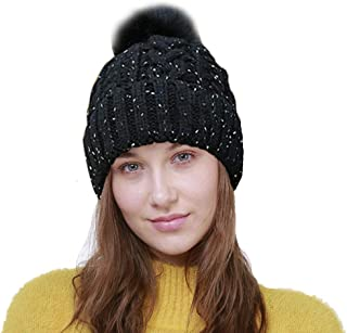 Women Girls Beanie Hat, Thick Soft Knitted Hats, Warm Stretchy Pom Pom Beanie for Autumn Winter [Scarf for Free]