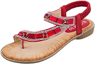 Respctful✿Womens Summer Flat Bohemian Floral Rhinestone Flip Flops Casual Fashion Sandal Wedge Shoes