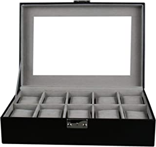 Kendal Watch Case Display Box with Clear Top Holds 10 Watches Lock w/Key
