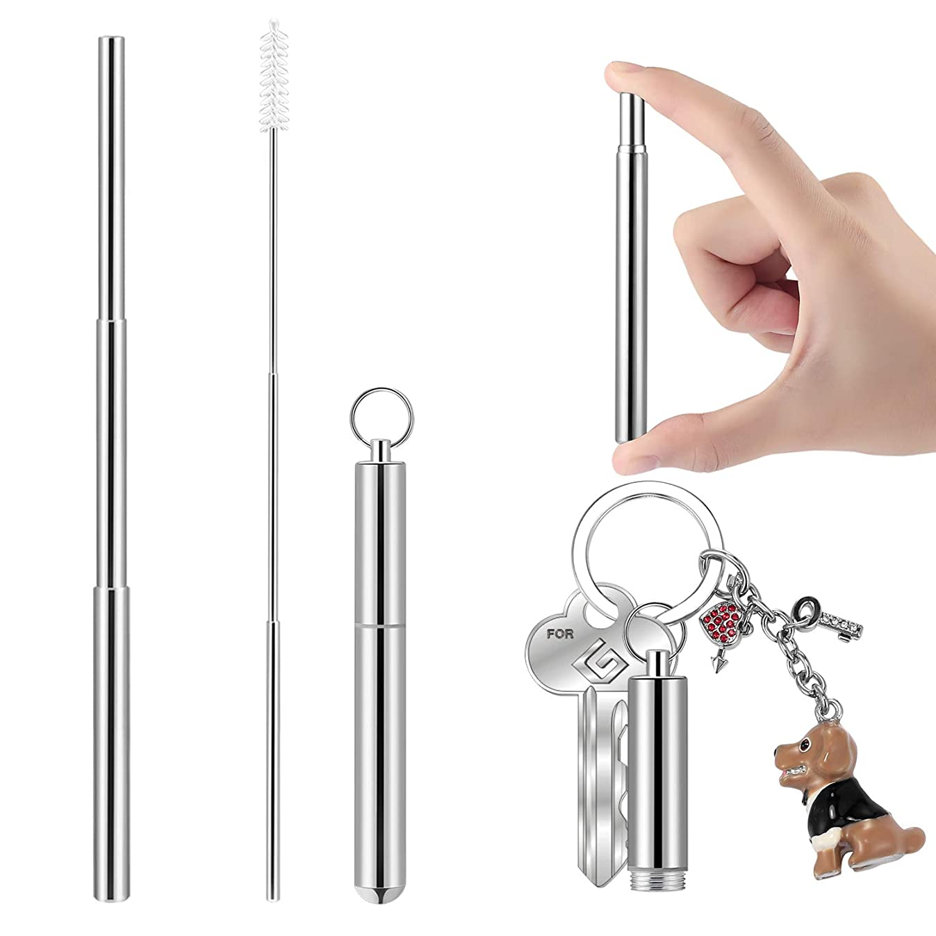 Portable Telescopic Stainless Steel Straws, Yoocaa Reusable Food-grade?Travel Drinking Straws with Aluminum Case, Dishwasher Safe with Cleaning Brush(Silver)