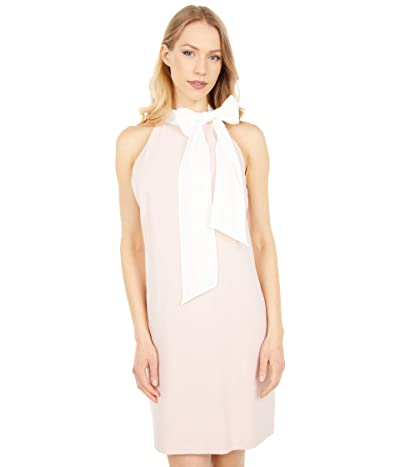 Vince Camuto Stretch Crepe Bow Neck Shift Dress (Blush Ivory) Women