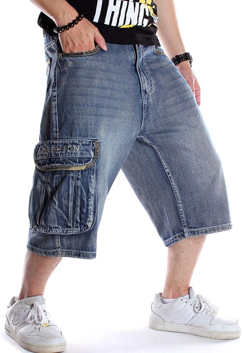 QBO Men's Loose Multi-Pockets Cropped Cargo Jeans Work Denim Shorts