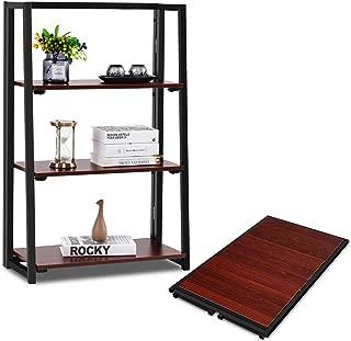 Giantex Folding Bookshelf Bookcase W/Top Shelf No Assemble Industrial Ladder for Living Room Bedroom Balcony, Multifunctional Plant Flower Display Stand Shelf Decor, Espresso (3 Tier)