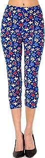 Women's Novelty Printed Cropped Capri Leggings for Regular Plus 3X5X (Women 2~24) - Mermaid Skulls Baseball