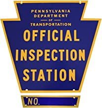 Pennsylvania Official Inspection Station Sign with Number Plate and Hardware