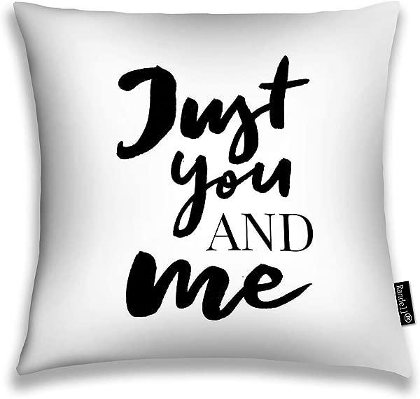 Randell 装饰抱枕套 Just You Me 正面标语 Daisy Sunflower Skecth 绘图现代靠垫套方形 18X18 英寸
