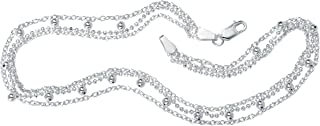 Sterling Silver Triple Strand Beaded Ankle Bracelet (1mm), 10 inches