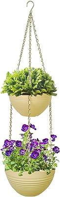 HH-LIFE - Vaso da fiori sospeso (24+20 cm, beige)
