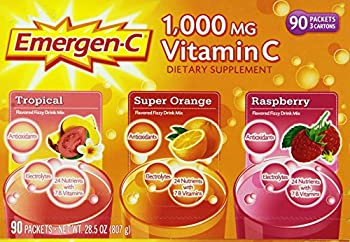 Emergen-C 1,000 mg Vitamin C Dietary Supplement Drink Mix Super Orange/Raspberry/Tropical 90 Packets Net Wt 28.5 oz.