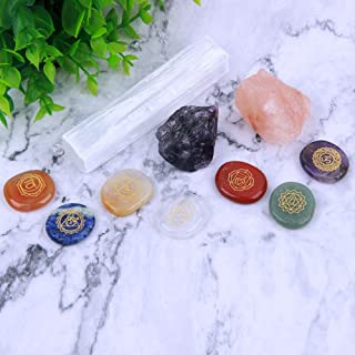 TGS Gems Natural Chakra Stones and Healing Crystal Stones Kit/Includes 7 Engraved Chakra Symbols Stones, Selenite Stick, Raw Amethyst and Salt Chunk