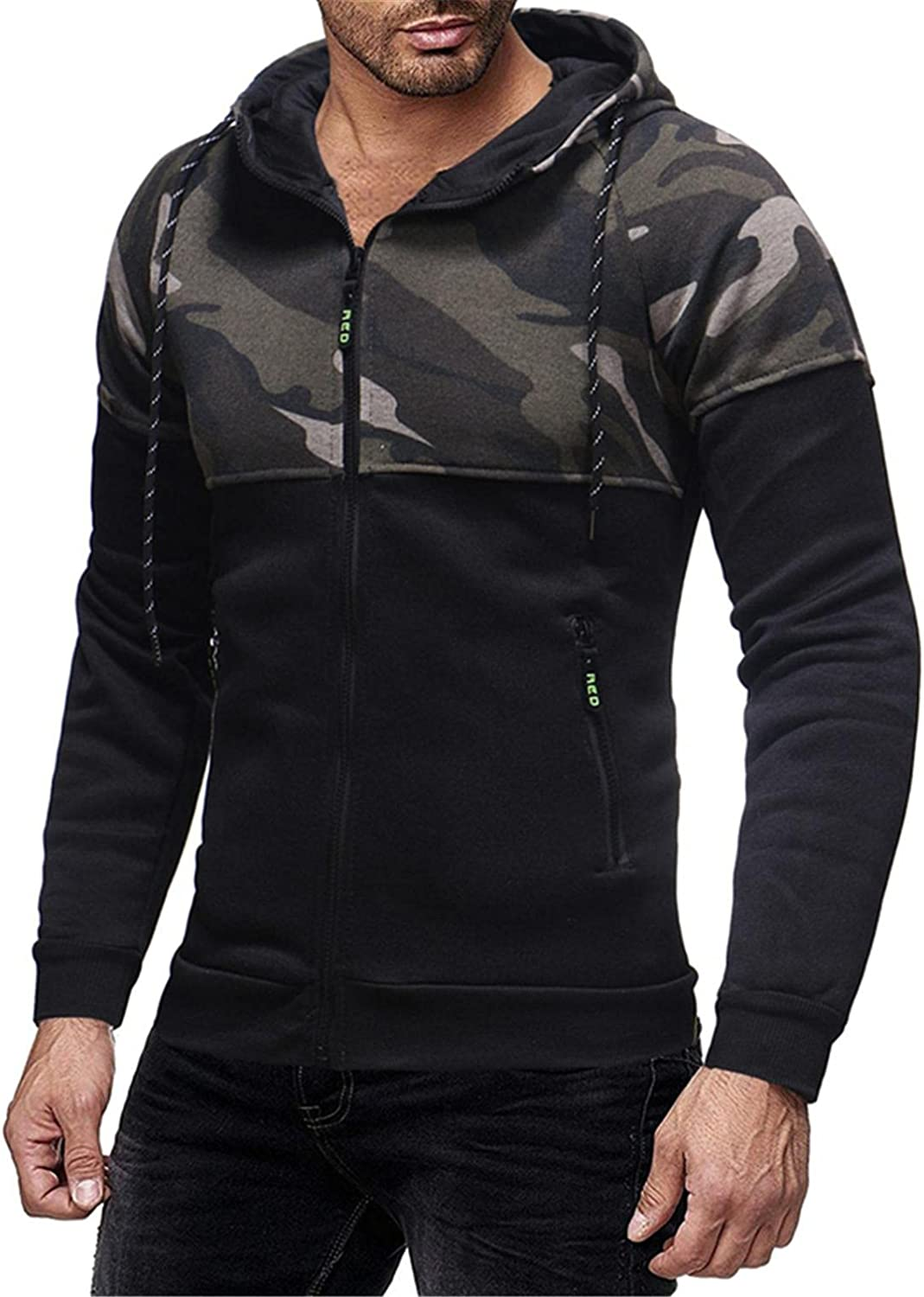 Qsctys Mens Sweatshirts Hoodies Zip up Casual Retro Camouflage Patchwork Fashion Sports Jackets College Pullover Hooded