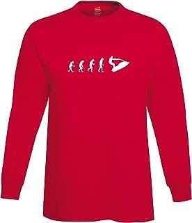 shirtloco Men's Evolution of Man to Stand Up Jetski Rider Long Sleeve T-Shirt