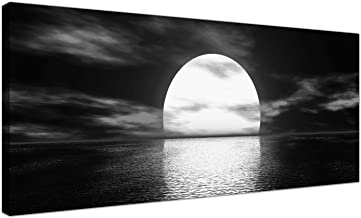 Modern Black and White Canvas Wall Art of a Tropical Ocean Sunset - Sea Canvas Pictures - 1003 - Wallfillers® by Wallfillers