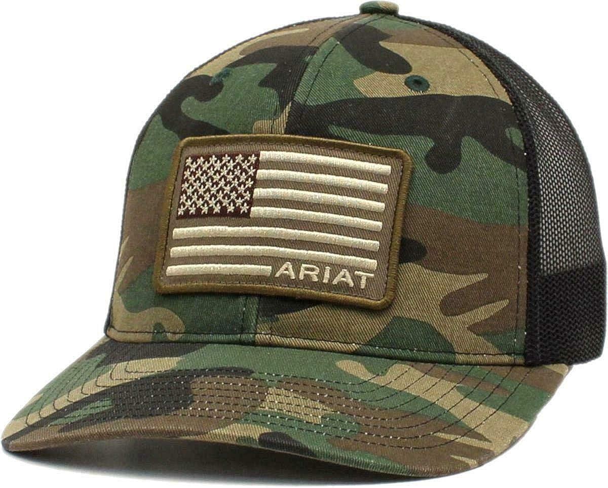 ARIAT Men's Camo Snap Back Cap USA Embroidered San Ranking TOP19 Francisco Mall Flag