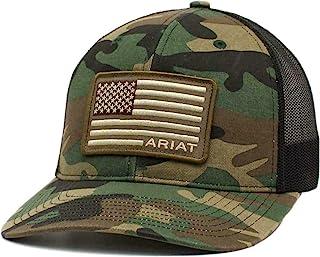 ARIAT الرجال كامو سناب باك مطرزة الولايات المتحدة الأمريكية العلم كاب
