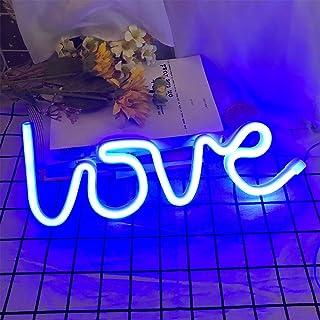 Protecu Lampe néon LED Love - Alimentation par USB - Veilleuse pour décoration murale et artistique, décoration et cadeau ...
